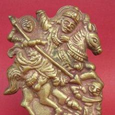 Antigüedades: ANTIGUA FIGURA VOTIVA HINDÚ DE BRONCE.SIGLO. XVIII .15 X 11,5 CM. GUJARAD ( INDIA).. Lote 210001352
