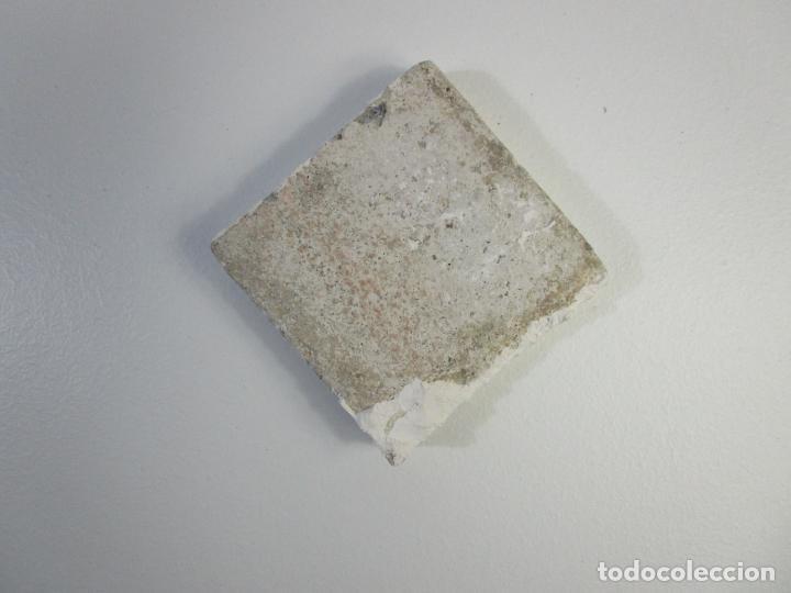 Antigüedades: Antiguo Azulejo - Baldosa - Cerámica Policromada - con Velero - Foto 2 - 210006037