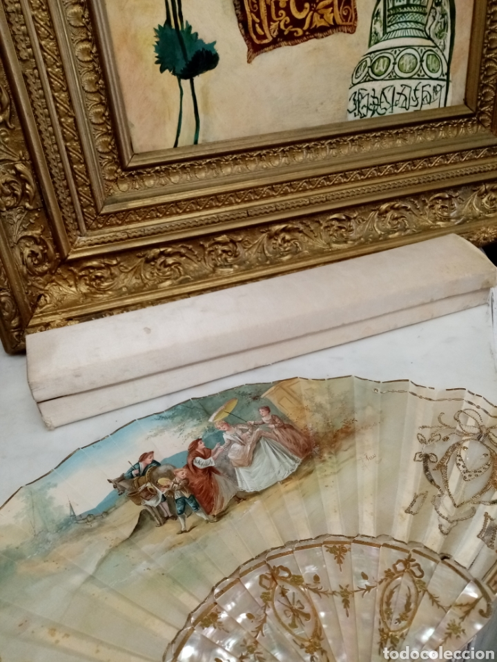 Antigüedades: Abanico pintado y firmado s.XIX varillaje en nacar y encaje. - Foto 15 - 139707260