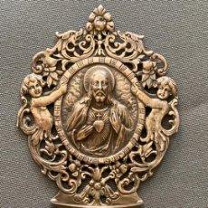 Antigüedades: BENDITERA DE PLATA DE LEY CONTRASTADA , CON SAGRADO CORAZÓN DE JESUS DE 1969. Lote 210009808