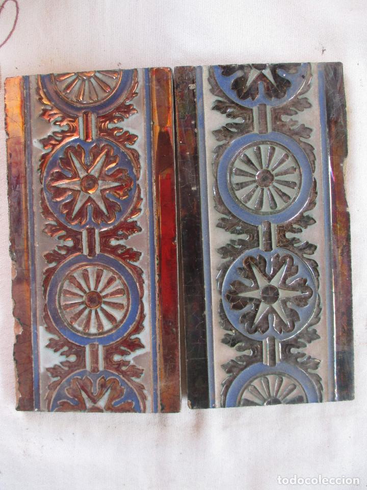 PAREJA DE AZULEJOS REFLEJOS RAMOS REJANO (Antigüedades - Porcelanas y Cerámicas - Azulejos)