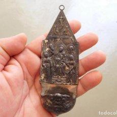 Antigüedades: ANTIGUA BENDITERA DE PLATA VIRGEN CON NIÑO. Lote 210023455