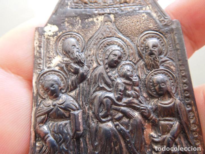Antigüedades: Antigua benditera de plata virgen con niño - Foto 5 - 210023455