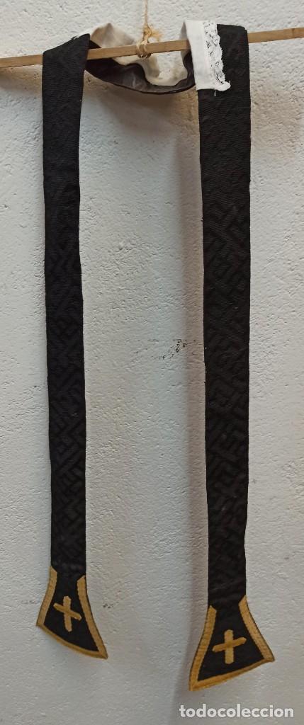 Antigüedades: Bella casulla negra con estola a juego. A1 - Foto 10 - 210029260