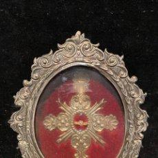 Oggetti Antichi: RELICARIO DE SAN MARTIN DE PORRES CON MARCO DE METAL PLATEADO. Lote 210051393
