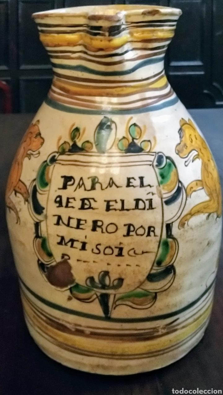 MAGNIFICA JARRA DE VINO PUENTE DEL ARZOBISPO SIGLO XVIII. (Antigüedades - Porcelanas y Cerámicas - Puente del Arzobispo )