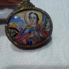 Antigüedades: RELICARIO SANTA BARBARA ESMALTADO. Lote 210089000