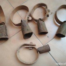 Antigüedades: LOTE 5 CENCERROS O ESQUILAS ANTIGUAS. Lote 210093745