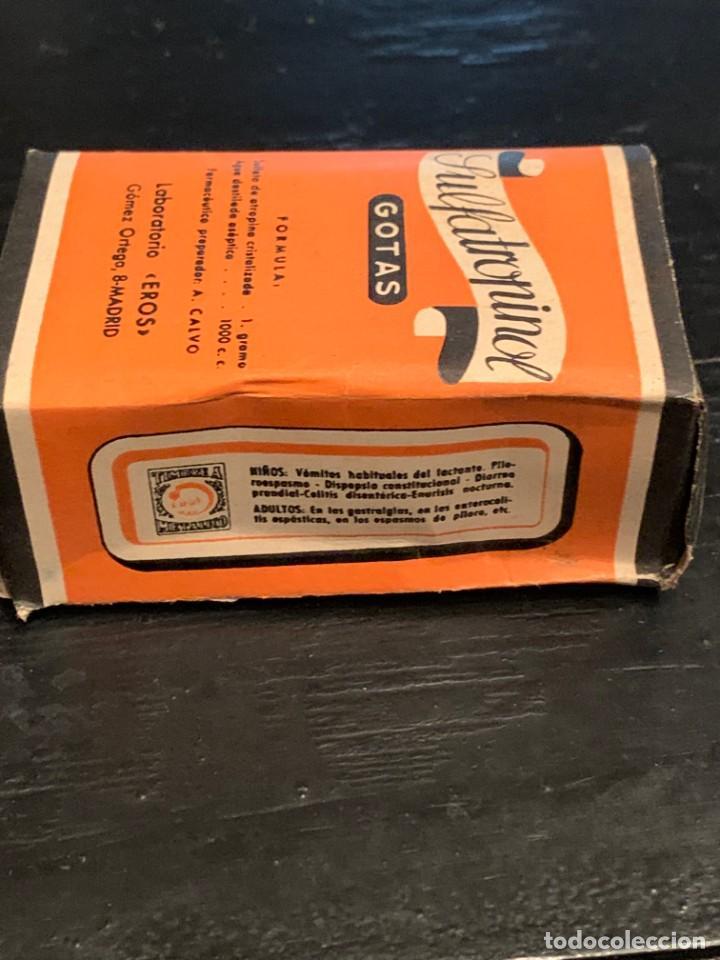 Antigüedades: Antiguo medicamento. Gotas Sulfatropinol. Bote con cuentagotas. Laboratorio Eros. Farmacia - Foto 3 - 210113016