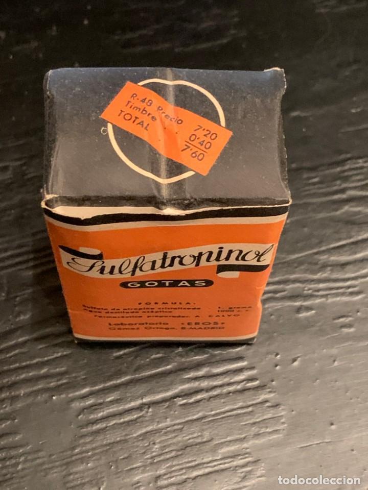 Antigüedades: Antiguo medicamento. Gotas Sulfatropinol. Bote con cuentagotas. Laboratorio Eros. Farmacia - Foto 5 - 210113016