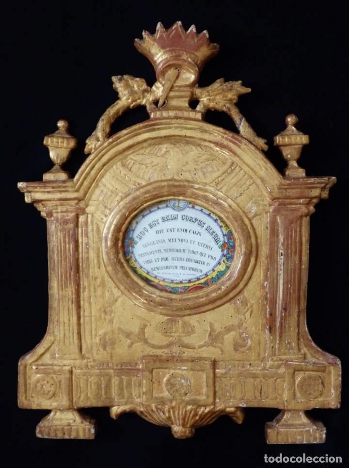 IMPORTANTE SACRA-PORTA RELICARIOS, ELABORADA EN MADERA TALLADA. PPS. S. XVIII. MIDE 64 CM DE ALTURA. (Antigüedades - Religiosas - Relicarios y Custodias)