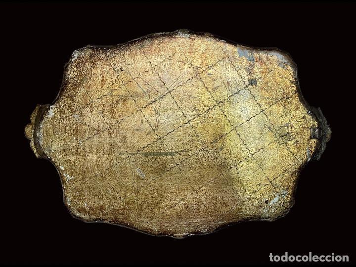 Antigüedades: antigua bandeja tipo veneciana de madera con flores, preciosa. - Foto 2 - 210175072