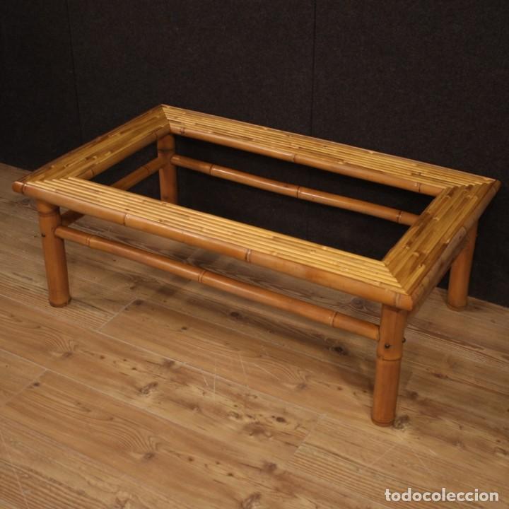 Antigüedades: Mesita de diseño italiano en bambú y madera exótica - Foto 3 - 210176956