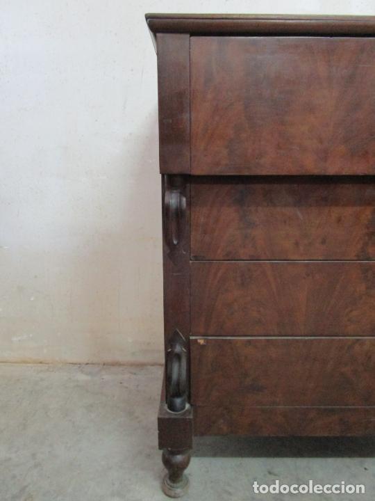 Antigüedades: Decorativa Cómoda Escritorio Isabelina - Madera de Caoba - S. XIX - Foto 3 - 210189681