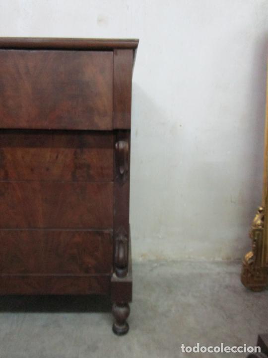 Antigüedades: Decorativa Cómoda Escritorio Isabelina - Madera de Caoba - S. XIX - Foto 4 - 210189681