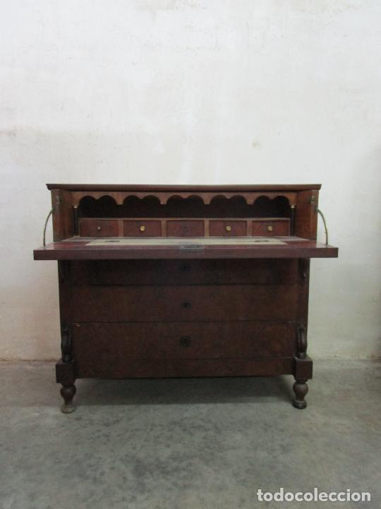 Antigüedades: Decorativa Cómoda Escritorio Isabelina - Madera de Caoba - S. XIX - Foto 6 - 210189681