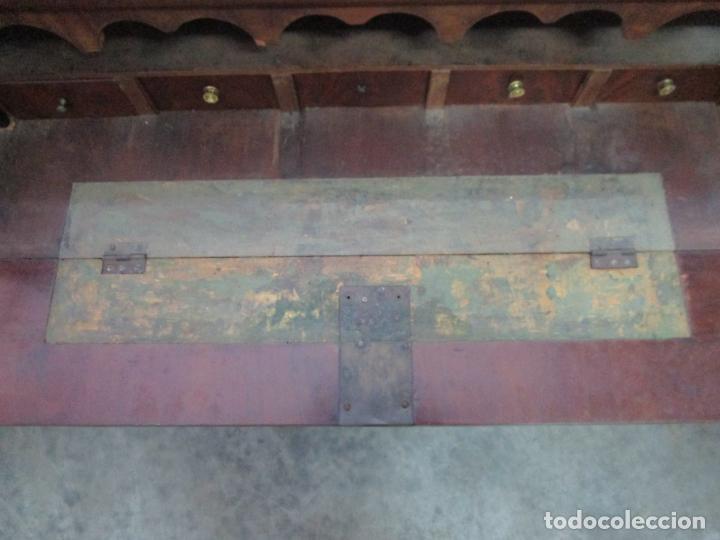 Antigüedades: Decorativa Cómoda Escritorio Isabelina - Madera de Caoba - S. XIX - Foto 7 - 210189681