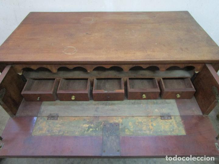 Antigüedades: Decorativa Cómoda Escritorio Isabelina - Madera de Caoba - S. XIX - Foto 11 - 210189681
