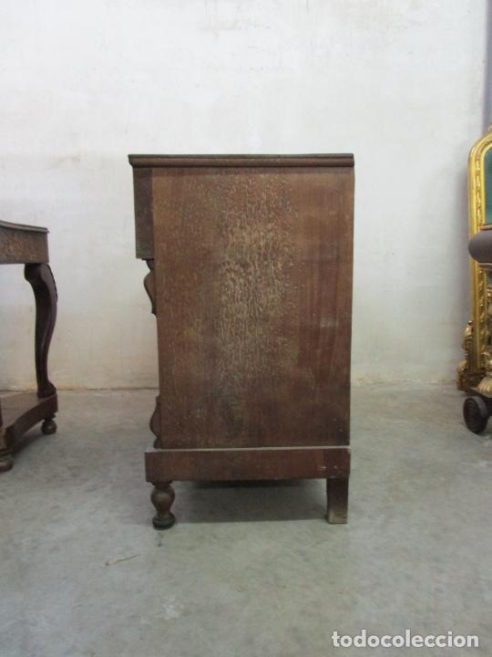 Antigüedades: Decorativa Cómoda Escritorio Isabelina - Madera de Caoba - S. XIX - Foto 20 - 210189681
