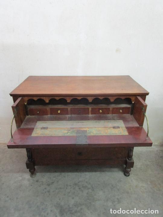 Antigüedades: Decorativa Cómoda Escritorio Isabelina - Madera de Caoba - S. XIX - Foto 25 - 210189681