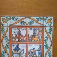 Antigüedades: BONITA COMPOSICIÓN DE AZULEJOS OFICIOS. CERÁMICA ESMALTADA. ESPAÑA SIGLO XX 25*25 CM. Lote 210226680