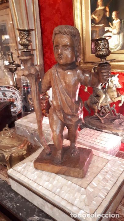 Antigüedades: CANDELABRO DE MADERA.PRINCIPIOS DE SIGLO XX - Foto 7 - 210246467