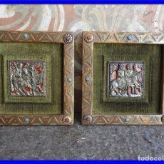 Antigüedades: PAREJA DE CUADROS DE BRONCE Y ESMALTE DE MORATO. Lote 210247782