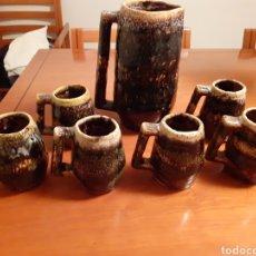 Antigüedades: JUEGO DE JARRAS DE CERAMICA ESMALTADA AÑOS 80. Lote 210251902