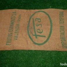 Antigüedades: SACO DE ARPILLERA-FESA-FRUTOS ESPAÑOLES S.A-VALENCIA-IMPORTACION TEMPORAL.100 X 55 CM.. Lote 210258212