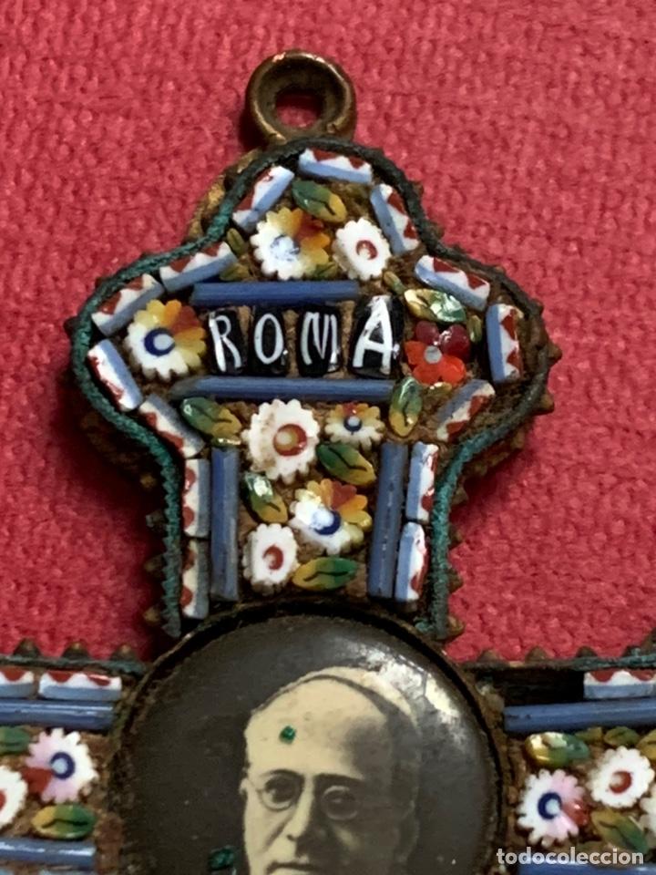 Antigüedades: Preciosa cruz de roma en micromosaico. Foto de su santidad el Papa de Roma - Foto 3 - 210302402