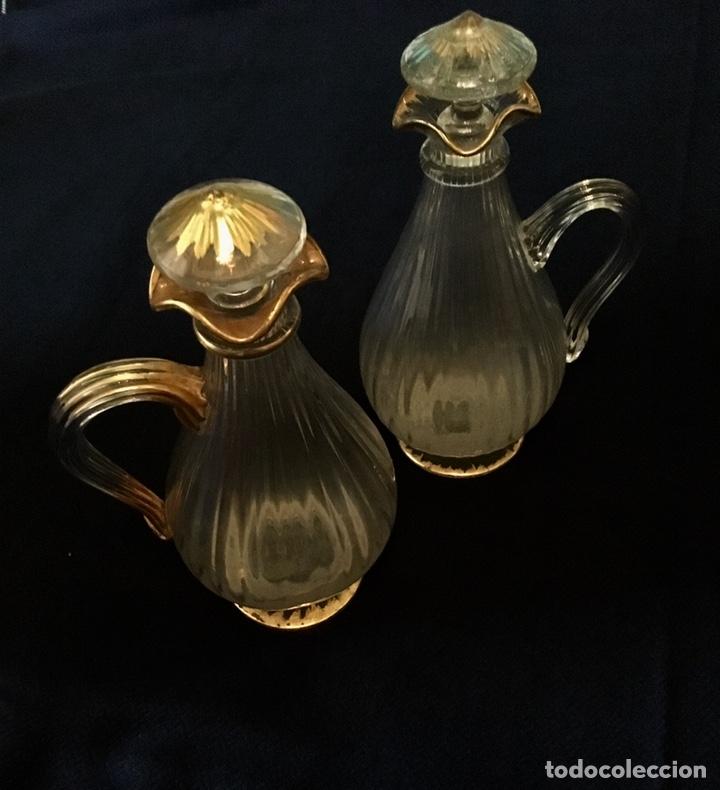 Antigüedades: Pareja de decantadores Cristal Veneciano Siglo XVIII - Foto 2 - 210325443