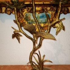 Antigüedades: BONITO PORTAVELAS DE BRONCE CON PIE DE MARMOL. Lote 210424480