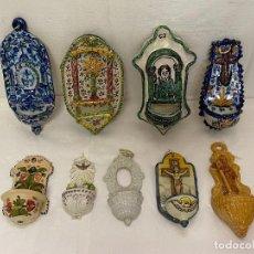 Antigüedades: LOTE DE 9 BENDITERAS. CERÁMICA, PORCELANA, TERRACOTA, BARRO.. Lote 210470370