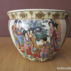 Antigüedades: MACETERO PECERA EN PORCELANA CHINA ESMALTADA A MANO. Lote 210480166