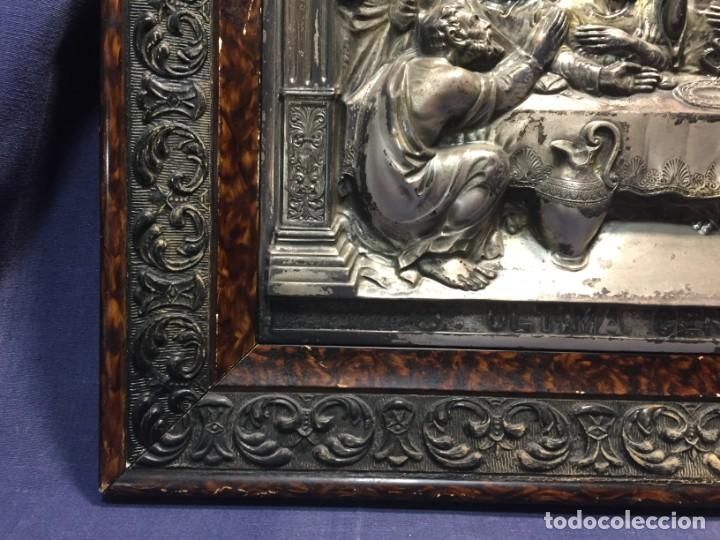 Antigüedades: ULTIMA CENA DE JESUS CRISTO METAL PLATEADO TROQUELADO ENMARCADO PPIOS XX 61X44,5CMS - Foto 11 - 210481535