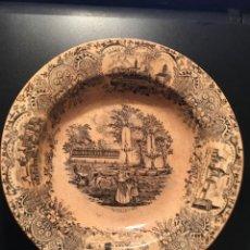 Antigüedades: ANTIGUO PLATO PICKMAN - LA CARTUJA S. XIX - VISTA DEL PRADO Y BOTANICO DE MADRID - 23 CM.. Lote 210555293