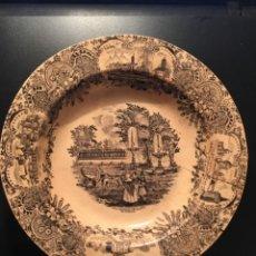 Antigüedades: ANTIGUO PLATO PICKMAN - LA CARTUJA S. XIX - VISTA DEL PRADO Y BOTANICO DE MADRID - 23 CM.. Lote 210555455
