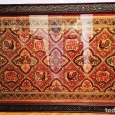 Antigüedades: TAPIZ HINDÚ ENMARCADO. Lote 210556508