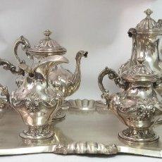 Antigüedades: CAFÉ Y TÉ CONJUNTO CON BANDEJA PLATA LEY 833/000. Lote 210578113