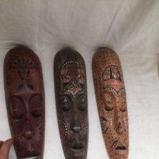 Antigüedades: LOTE DE 3 MASCARAS DE MADERA ANTIGUAS!. Lote 210617152