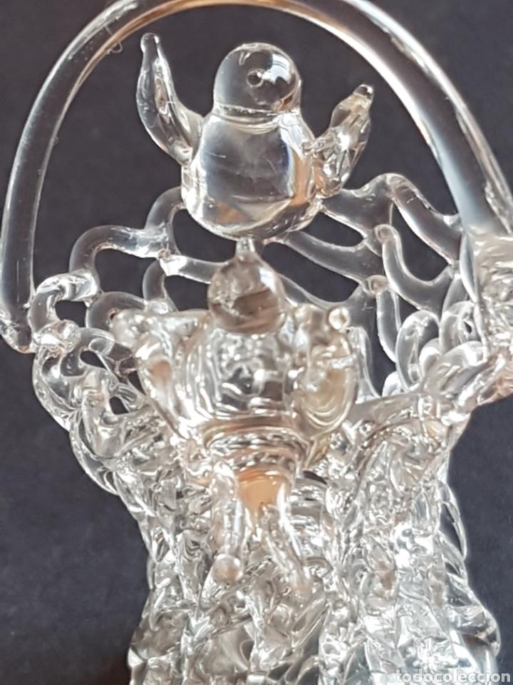 Antigüedades: Cesta cestita de cristal artesanía hecha a mano con 2 pajaros - Foto 4 - 210638453