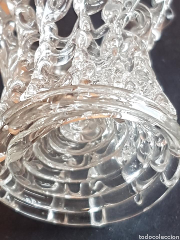 Antigüedades: Cesta cestita de cristal artesanía hecha a mano con 2 pajaros - Foto 6 - 210638453