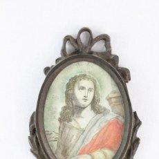 Antigüedades: MARCO DE BRONCE CON LITOGRAFÍA S XIX SANTA. Lote 210649562