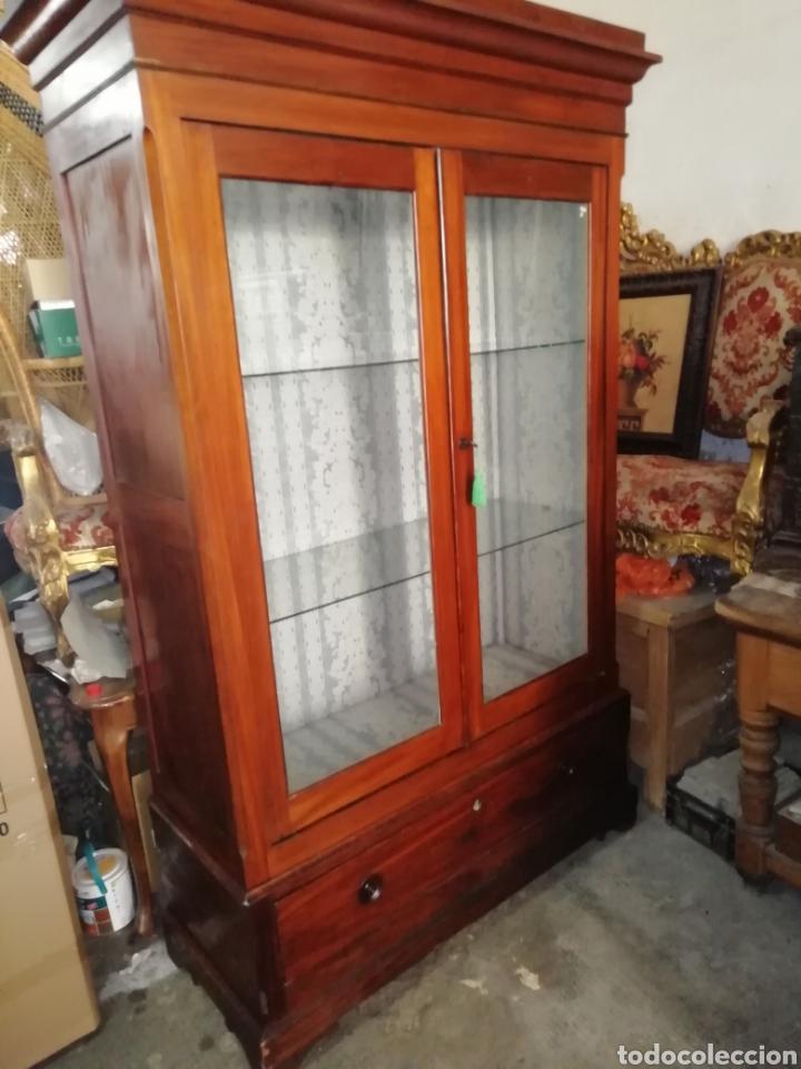 Antigüedades: Antigua vitrina de caoba - Foto 8 - 210649854
