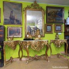 Antigüedades: CONSOLA CON ESQUINERAS DE MADERA DORADAS. Lote 210676355