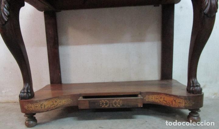 Antigüedades: Bonita Consola Isabelina - Madera Jacarandá, Caoba y Marquetería - Espejo Plateado Antiguo - S. XIX - Foto 2 - 210678411