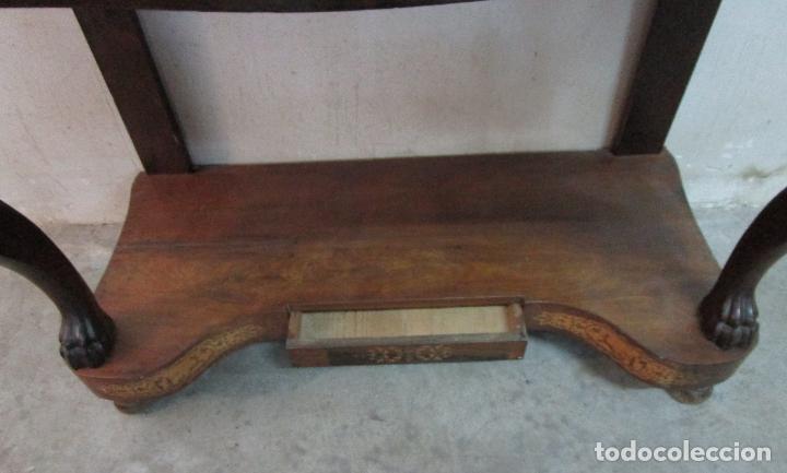 Antigüedades: Bonita Consola Isabelina - Madera Jacarandá, Caoba y Marquetería - Espejo Plateado Antiguo - S. XIX - Foto 3 - 210678411