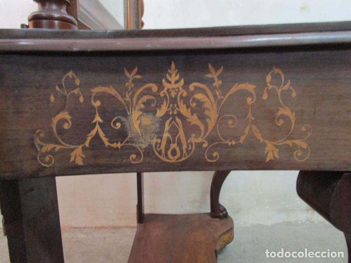 Antigüedades: Bonita Consola Isabelina - Madera Jacarandá, Caoba y Marquetería - Espejo Plateado Antiguo - S. XIX - Foto 9 - 210678411