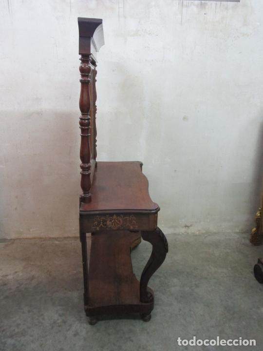 Antigüedades: Bonita Consola Isabelina - Madera Jacarandá, Caoba y Marquetería - Espejo Plateado Antiguo - S. XIX - Foto 10 - 210678411