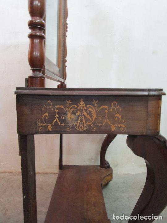 Antigüedades: Bonita Consola Isabelina - Madera Jacarandá, Caoba y Marquetería - Espejo Plateado Antiguo - S. XIX - Foto 13 - 210678411
